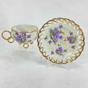 ROYAL SEALY Japan Tea Cup & Saucer Reticulated Violets Lusterware Gold GILDING