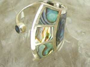 Stunning Vintage Abalone MOP Geometric Design Wrap Sterling Silver Ring Size 8