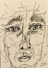 "ACEO original MAN line drawing empath by Lynne Kohler 2.5x3.5"""