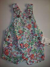 OshKosh B'gosh Shortall Playshort Bib Suspender Baby Girls Sz 3 Mos Floral NWT
