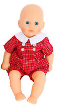 Boy Dolls Red Check Romper All Sizes Available Baby George/ Baby Born.