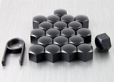 New Set 20 Car Caps Bolts Alloy Wheel for Nuts Covers 17mm Matt Black Plastic