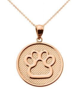 Rose Gold Bear Paw Print Disc Pendant Necklace Charm
