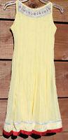 Vtg Indian Dress Sheer Gauze Lace ALine Festival Boho Hippie Yellow Sz 36 #C-11