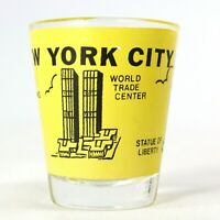 VINTAGE Shot Glass WORLD TRADE CENTER Twin Towers Statue Of Liberty Empire State