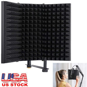 Microphone Isolation Shield Kit Mic Sound Absorbing Foam Reflector for Sound Recording Singing and Broadcasting AGPTEK Compact Microphone Isolation Shield with Desk/Mic Stand Podcasts Vocals