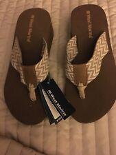 West Marine Women Tan Stripes Sandals Flip Flops  Size 6 New