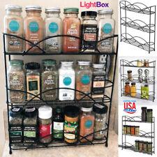 Shelf Spices Seasoning Organizer Rack 3-Levels Steel Holder Kitchen Condiments