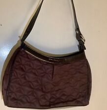 "Vera Bradley Preowned Plum Wine Nylon Hobo Bag Patent Trim/Handle 7"" X 11"""