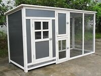 """78"""" Wood & Plastic Hen Chicken Duck poultry Run House Coop Cage Nesting boxe"""