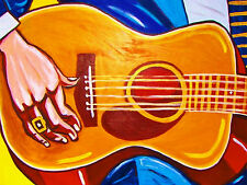 OLD BLUES HANDS PRINT poster martin 00-42 acoustic folk blues guitar gold ring