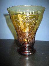 Commemorative amber color glass beaker Olympic Games Amsterdam 1928 Leerdam
