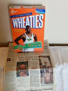Michael Jordan Wheaties Box And Feb. 1, 1998 Newspaper Article