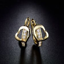 18K Gold Filled White Cubic Zirconia Crystal Huggie Hoop Engagement Earrings