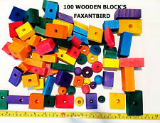 Bird parrot parts for toy cage toys wood wooden blocks medium to large 100 pcs.