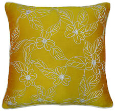 Floral Embroidered Poly Dupion Cushion Cover Indian Throw Yellow Pillow Case