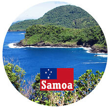 SAMOA - FLAG / SIGHTS - ROUND SOUVENIR FRIDGE MAGNET - GIFTS - BRAND NEW