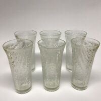 Vintage Jeannette Glass Finlandia Tree Bark Clear Flared Tumblers Lot of 6
