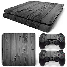 Sony PS4 Playstation 4 Slim Skin Aufkleber Schutzfolie Set - Grey Wood Motiv