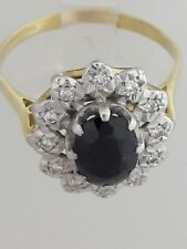 18ct Gold Sapphire & Diamond Cluster Ring Size Q
