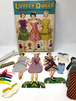 Vintage Lovely Paper Dolls With Real Cloth Dresses Hangers Saalfield