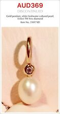 PANDORA | GENUINE 14k Gold White Pearl Dangle Charm With Diamond, 350174D