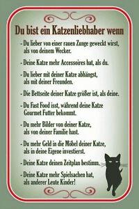 Katzenliebhaber Katze Blechschild Schild gewölbt Tin Sign 20 x 30 cm CC1061