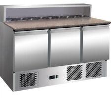 More details for commercial triple 3 door counter open top pizza saladette prep fridge granite