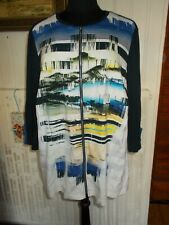 SUPERBE pull gilet jersey bleu stretch imprimé vacances SOMMERMANN 52FR 50D 24UK