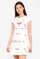 NWT Foxiedox Ladies Small UK 8/10 Cream Embroidered Sierra Mini Dress