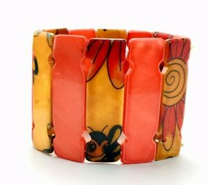 Orange Yellow Mother Of Pearl Painted Bumblebee Flower Wide Stretch Bracelet