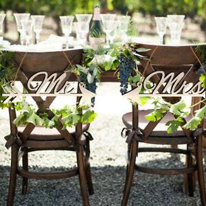 1Pair Mr & Mrs Arrow Signs Wedding Party Chair Decor Rustic Wood Wedding S_qi