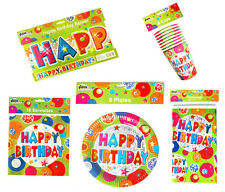 BIRTHDAY PARTY SET, PLATES, CUPS, NAPKINS, TABLECLOTH, BANNER, PARTY TABLEWARE