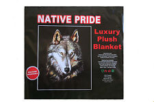 """Wolf Face - Native Pride Luxury Plush Blanket Bedspread.79"""" X 94"""" Inches"""