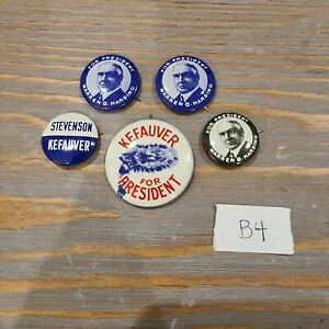 Lot of 5 Presidential Pins Reproduction Button Warren Harding Stevenson Kefauver