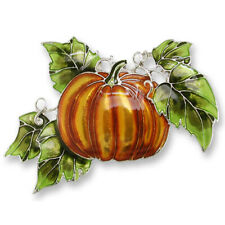 Zarah Magic Pumpkin Patch Harvest Pin Enamel Sterling Silver Plated w/Gift Box