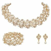 Bridal Wedding Necklace 3pc Set Gold Jewellery Luxury Party Crystal Ivory Pearl