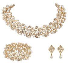 Collier de mariage nuptiale 3pc Ensemble bijoux en or party de luxe Ivoire cristal perle