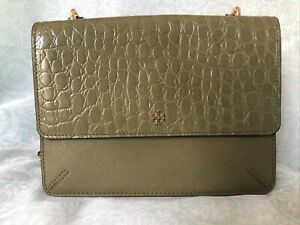Tory Burch Robinson Croc Convertible Hobo In Green Color