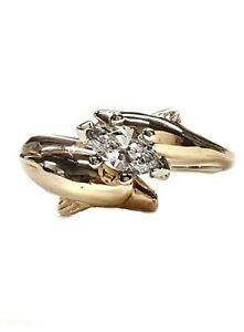 Dolphin Engagement Ring, 2 Dolphins Different Sizes  40pt. Marquise Diamond 14kt
