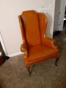 Antique Leather Chair Queen Anne Marie High Back Orange 1920's leather