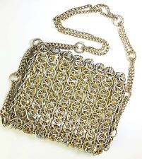 Walborg Gold Metal Woven Rings Paco Robanne Evening Purse Vintage 1950's