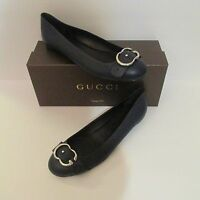 NIB GUCCI Navy Round Toe Leather Flats - Retail Price $575
