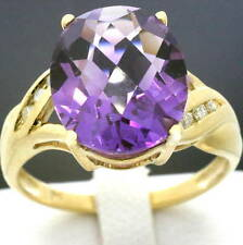 Real 4.0ct Amethyst & Diamond 9ct 9k Solid Gold Ring - Bravo Jewellery