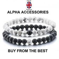 Pulseras de distancia-alfa accesorios negro mate y blanco 8mm Perlas parejas 2pc