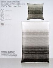 Bettwäsche TIRA 135 x 200 cm Satin 100% Baumwolle Schwarz Grau Weiss NEU OVP