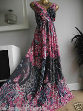 MONSOON GOLDIE PINK NAVY BLUE SILVER PIN STRIPE SPARKLE MAXI DRESS PROM GOWN 16