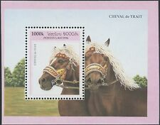 LAOS Bloc N°135 ** Bf Chevaux de trait 1996, Draft Horses Sheet Sc#1301 MNH