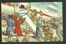 1950's Unused Postcard Cats Boarding Airplane Alfred Mainzer Inc. 4934