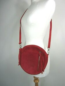 Brora Red Suede Circle Bag With Dust Bag